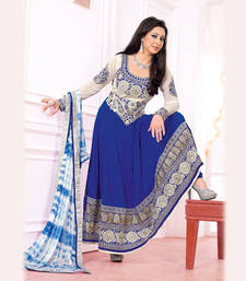 Buy Blue and Offwhite Poly Georgette Long Frock. semi-stitched-salwar-suit online