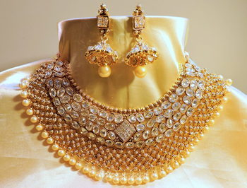 wedding kundan and polki royal necklace set