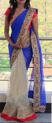 Off White Embroidered Georgette Saree With Blouse