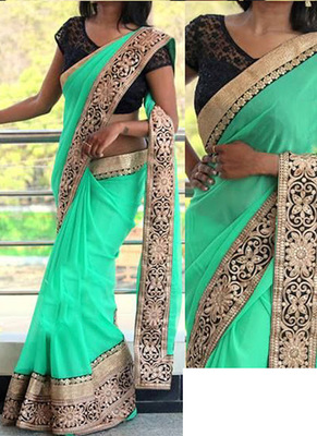 Lime Embroidered Georgette Saree With Blouse