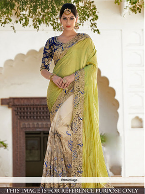 3b941ea21a92f parrot green embroidered net saree With Blouse - Isha Enterprise - 1183170
