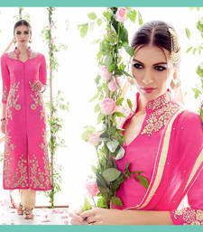 Buy Pink embroidered georgette unstitched salwar with dupatta dress-material online