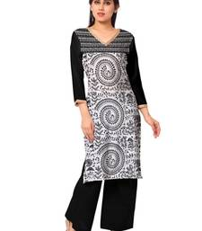 Buy White faux crepe printed stitched kurti kurtas-and-kurti online