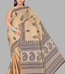 Pavechas Mangalgiri Printed Cotton Sari -Kitkat Mango MK305