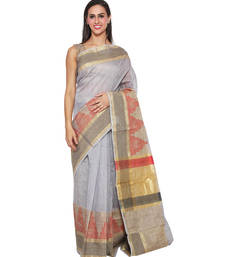 Buy Brown embroidered cotton saree With Blouse hand-woven-saree online