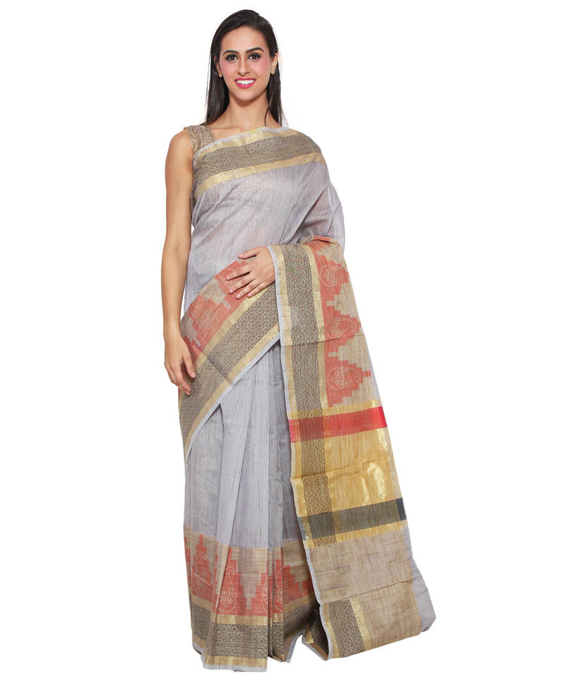 Buy Brown Embroidered Cotton Saree With Blouse Online