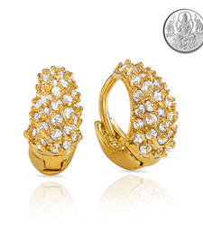Collection Gold Plated Stones Hoop Earrings For Women with Free Silver Laxmi Coin ER