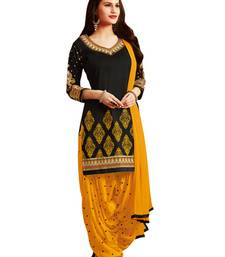 Black pure cotton embroidered unstitched salwar with dupatta