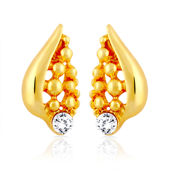 Gold Plated Shell Stud Earrings with Crystal for Women