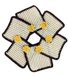 Buy Pack of 6 Crochet Coasters in White Brown with Yellow Motif coaster online