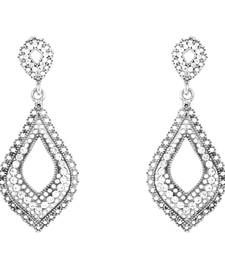 Donna Fashion White Leaf Mesh Rhodium Plated Dangler Earrings with Crystals for Wome