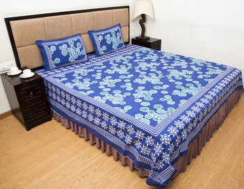 Blue Printed Pure Cotton Bedsheets