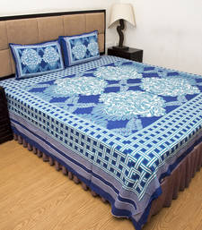 Buy Turquoise blue  printed pure cotton bedsheets bed-sheet online