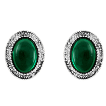 Donna Fashion Green Oval Stud Rhodiul Plated Earrings with Crystals for Wome