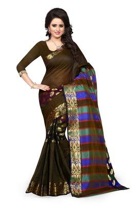 Black plain art silk saree With Blouse
