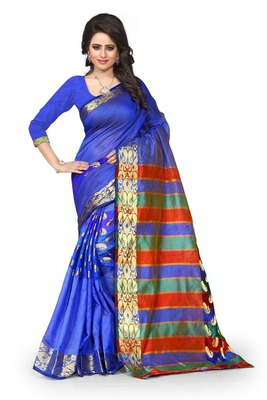 Blue plain art silk saree With Blouse