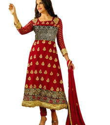 Buy Salwar Studio Red  semi georgette Anarkali designer semistitched churidar kameez with dupatta Salwar Studio EL-15006 semi-stitched-salwar-suit online