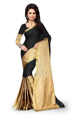 Black plain art silk saree With Blouse