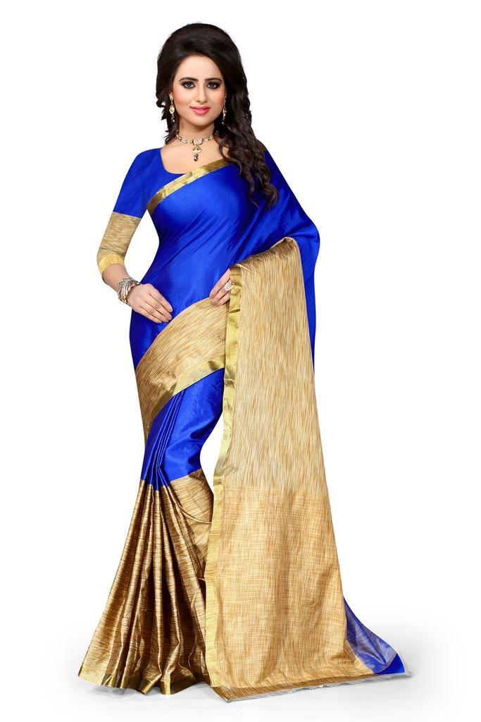 bf6c04b00875bb Blue plain art silk saree With Blouse - Shree Sanskruti - 1186685