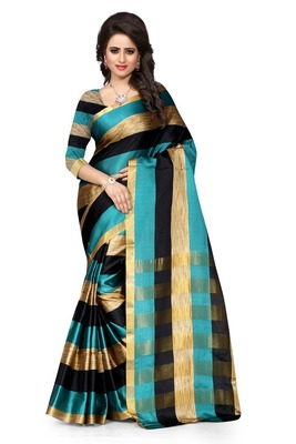 Rama and Black plain art silk saree With Blouse