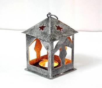 Decorative Small Silver Metal Lantern