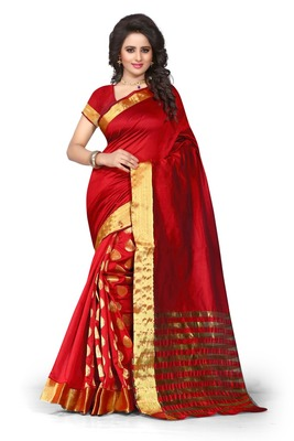 31ad36d020d7c1 Red plain art silk saree With Blouse - Shree Sanskruti - 1186878