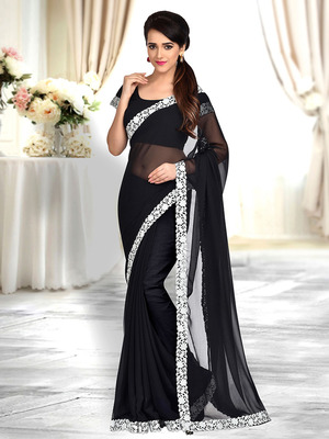 Black plain faux georgette saree With Blouse
