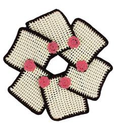 Buy Pack of 6 Crochet Coasters in White Brown with Pink Motif coaster online