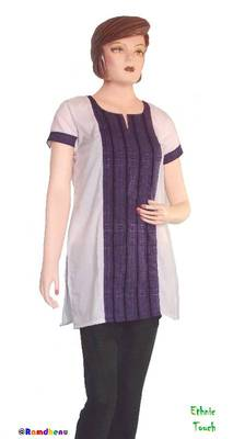 Ethnic Touch - White and Purple Kurti with weaving patch