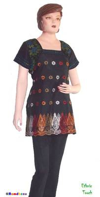 Ethnic Touch - Kurti- Black and with Multicolor embroidery