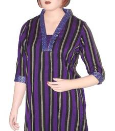 Buy Ethnic Touch - Black and Purple Kurti with weaving patch work kurtas-and-kurti online