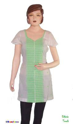 Ethnic Touch - White and Green Kurti with weaving work