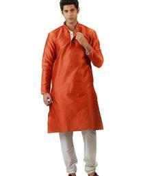 Buy Orange blended silk kurta for men men-kurta online