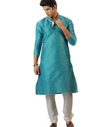 Buy Sky blue blended silk kurta for men men-kurta online