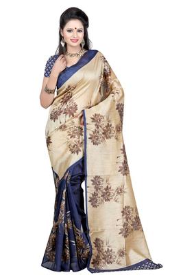 multicolor printed bhagalpuri_silk saree With Blouse