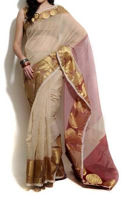 Supernet Cotton Banarasi Zari Border Saree