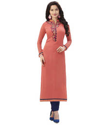 Buy Orange embroidered georgette semi stitched kurti kurtas-and-kurti online