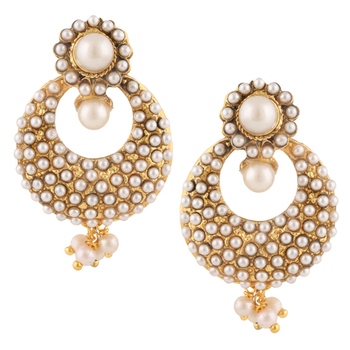 Traditional Indian Ethnic Fashion Jewelry Set Pearl Chandbali Earrings