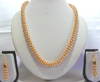 Golden White Pearl Long Chain Necklace Set