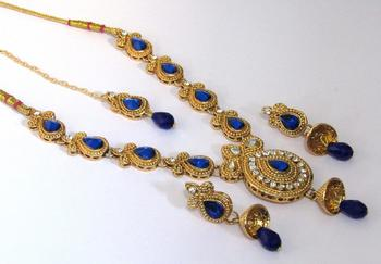 Golden Dark Blue kundan with stone necklace set