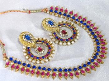 Pink and blue layer polki necklace set