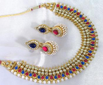Pink and Blue tilak pearl gota necklace set