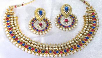 Pink and Blue tilak pearl polki necklace setsmc1