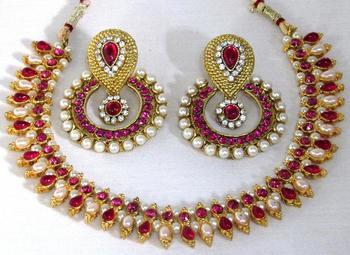 Dark pink Double stone pearl polki necklace set