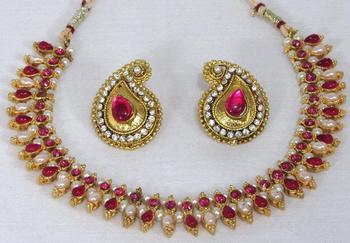 Dark pink double stone mango necklace set