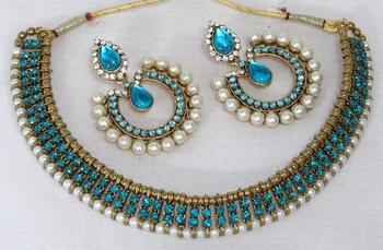 Antic Sky Blue stone tilak necklace set