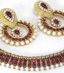 Buy Antic Maroon stone polki necklace set fashion-deal online