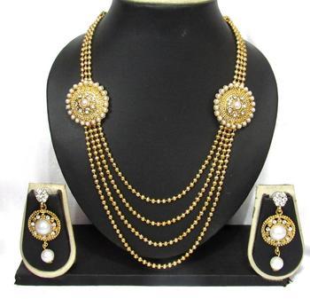 Four Line Golden Chain Long Pearl Necklace Set