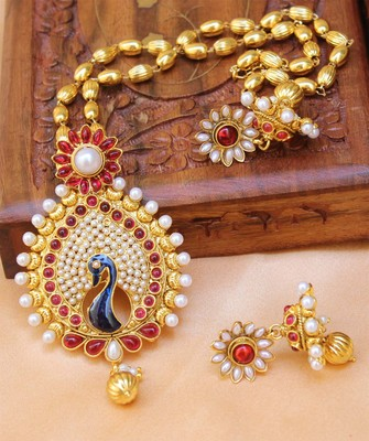 Beautiful Designer Gold Plated Peacock Pendant Set With Chain