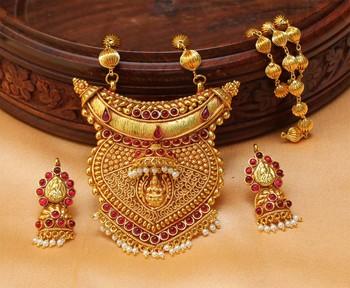Buy designer geru polish one gram gold pendant set with chain online designer geru polish one gram gold pendant set with chain aloadofball Images